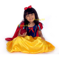 Fantasia Vestido Festa Infantil Princesa Branca De Neve