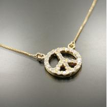 Lindo Colar Símbolo Da Paz Em Ouro 18 Quilate Mais Diamantes