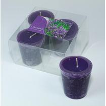 Kit Com 4 Velas Decorativas Rechaud - Aroma Lavanda