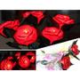 Kit Com 3 Rosas Led Vermelhas C/ Haste E Folhas