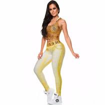 Calça Legging Digital Cinto Onça Dunas Original Fitness Luxo