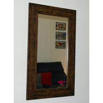 Espelho Moldura Madeira Estilo Rústico 50x70cm