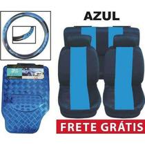 Kit Azul Tapetes Capas De Banco E Volante Frete Grátis