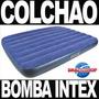 Colchão De Casal Inflável Extra Largo Com Bomba De Ar Intex
