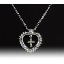 Colar Prateado Feminino, Coração Crucifixo