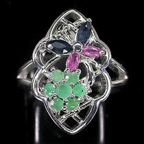 Esmeralda,rubi E Safira Africanos-anel Prata 925-ouro14k