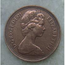 9806 Inglaterra 2 New Pence, 1971 , Bronze, 26 Mm, Elizabeth