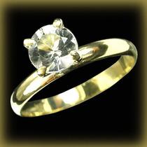 Anel Noivado Aliança Casamento Ouro Goshenita Diamante Fretg