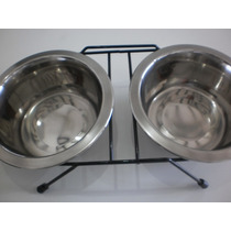 Comedouro E Bebedouro Para Cães E Gatos ( Aço Inox)( 750 Ml)