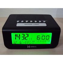 Despertador Digital Rádio Relógio 110/220 E 3 Pilhas Preto