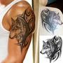 Tatuagem Temporária 3d Grande Real Braço Cara Do Lobo Tribal