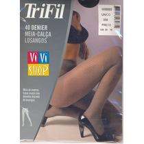 Meia-calça Cinza Fio 40 Losangos Trifil Vivishop