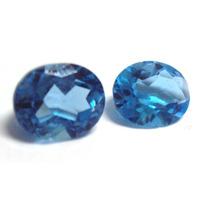 Frete Grátis - Topázio Azul London 10x8 - 2 Pedras Grandes