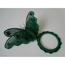 Borboleta Crochê Bordado Argola Porta Toalha Verde 2