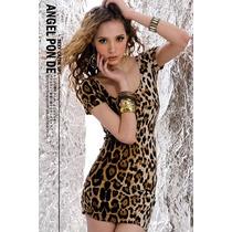 Vestido Colado Panict De Leoparda Importado Lindíssimo