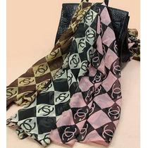 Pronta Entrega Lenços Griffe Chanel Famosa Preto E Rosa