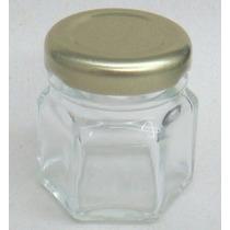 Pote De Vidro Sextavado Cristal 40ml - C/10 Unidades