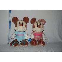Mickey E Minnie Pelúcia Original Importado Japão Aprox. 35cm