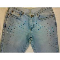 Calça Jeans Dopping Linda Cheia De Pedras Estrass Tam 34/ 36