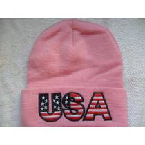Gorro Toca Logo U.s.a Rosa Feminino 29cm X 19cm