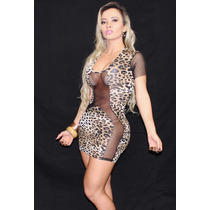 Ropahrara Vestido Sexy Lycra® E Tule V504 Cor: Onça