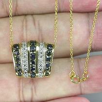 Joalheriavip Corrente Pingente Diamantes Safiras Prata 925