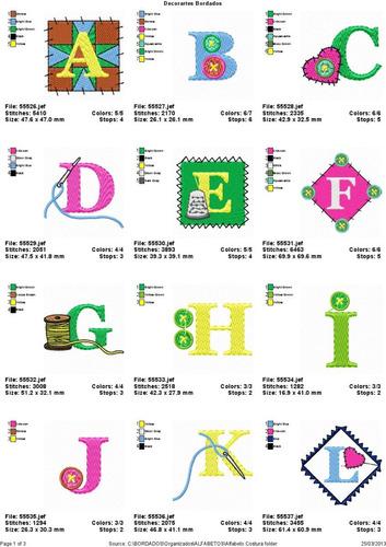 c05ffecf2470b Coleção De Bordados Alfabeto Monograma Costura. R  12.99