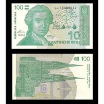 Croácia 100 Dinara 1991 P. 20 Fe Cédula Bonita