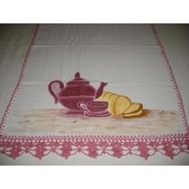Pano Prato Bule Com Xicara E Pão Com Croche - Pp019
