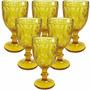 Jogo 6 Taças Diamond Copo Vidro 290ml Para Água Vinho Ambar