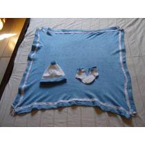 Conjunto De Trico - Manta, Gorro E Meia De Lã Para Bebe