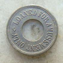 Ficha, Token 21mm, Usa For Amusement Only - Com Furo - Inox