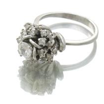 Anel Chuveirinho C\ 25 Diamantes Em Ouro Branco 18k J10950