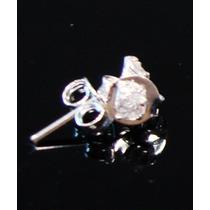 2º Furo - Brinco Com Zirônia Em Prata 925 - 1 Par - 3 Mm