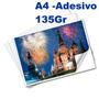 500 Fls Papel Fotográfico Adesivo A4 Glossy Brilhante 130 Gr