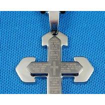 Crucifixo Em Aço Inox C/o Pai Nosso Escrito Colar Corrrente