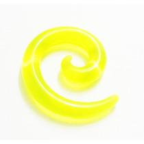 Alargador 6mm Espiral, Chifre, De Acrílico, Amarelo Neon