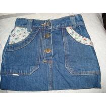 Saia Jeans C/ Detalhes Em Algodao Estampado Tam 4