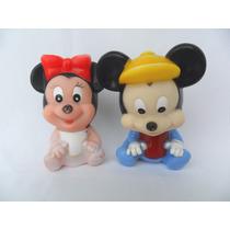 Mickey E Minnie Bonecos Antigos Baby Disney Borracha Vinil