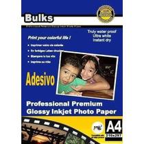100 Folhas Papel Foto Adesivo Glossy À Prova D´água 135g A4