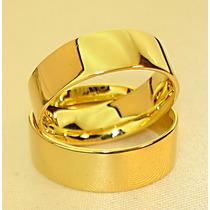 Aliança Chapa Reta Anatômica Elegância Ouro Banho 18k