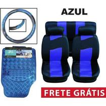 Kit Azul Tapetes + Capa De Banco + Volante + Frete Grátis