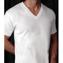 Camiseta Lisa Branca Gola V - 100% Algodão-fio 30.1
