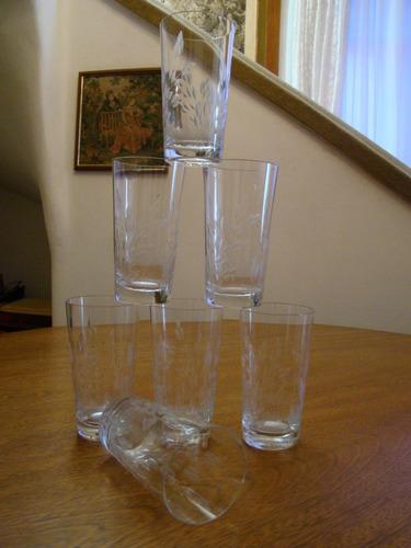 8a92fafc90c 7 Copos Em Cristal Hering Para Água Da Década De 50 Natal