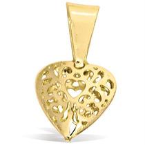 Pingente Coração Vazado Folheado À Ouro 18k