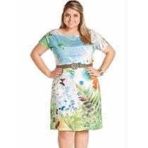 Roupa Plus Size Feminina - Vestido Estampado Manga Curta
