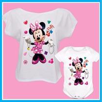 Kit Tal Mãe Tal Filha Blusa E Body Infantil Minnie Fashion