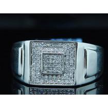 Anel Masculino Diamantes Em Ouro 18k Exclusivo