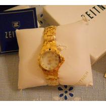 Relógio Pulso Zeitner Folheado Ouro Mostrador 11 Diamantes