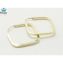 Nicaya Mini Argola Quadrada Em Ouro 18k-750 Fio Quadrado